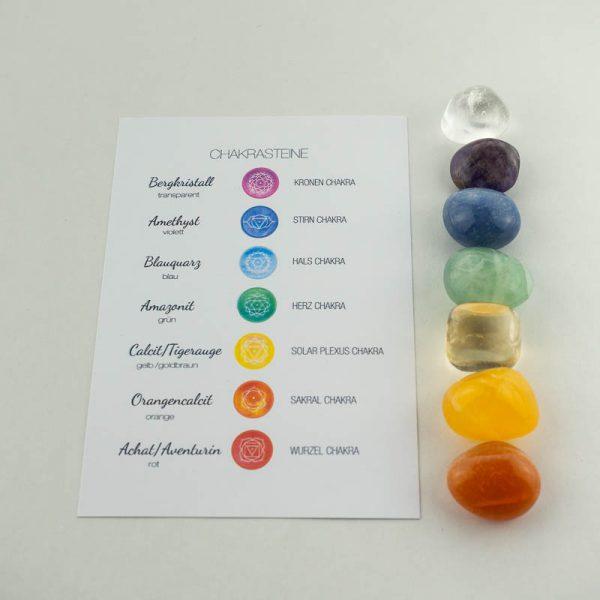 Chakrasteine in den sieben Farben der Chakren mit Infotafel