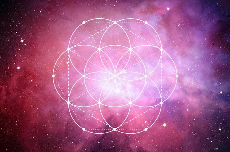 Same des Lebens Symbol mit eingezeichneten Verbindungslinien
